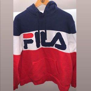 Blue Red and White Fila Hoodie